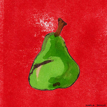 Green Pear on Red  by Marla Saville