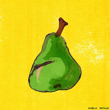Green Pear on Yellow by Marla Saville
