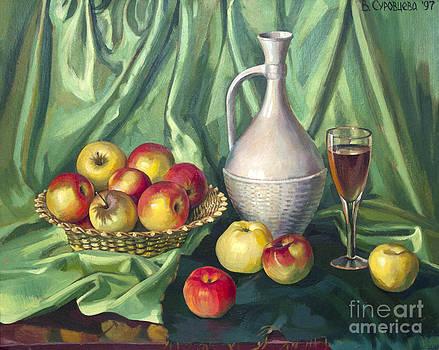 Green still life with decanter by Veronika Surovtseva
