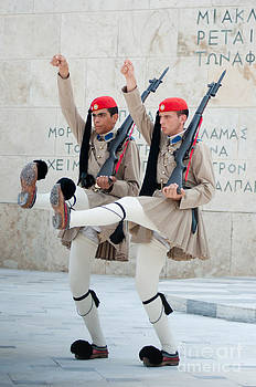 Guards parade at Syntagma square by Andrew  Michael