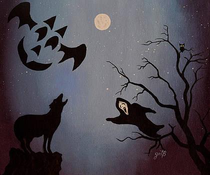 Halloween Night Party original painting placemat doormat by Georgeta  Blanaru