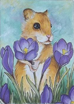Hamster Picking Purple Crocus by Debrah Nelson