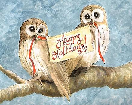 Happy Holidays Owls by Sara Bell
