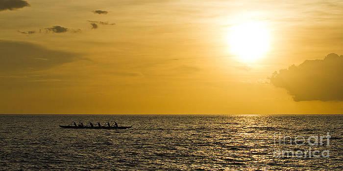 Hawaiian Outrigger Canoe Sunset by Dustin K Ryan
