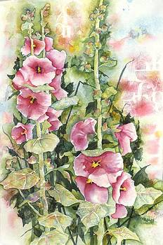Hollyhocks by Kay Johnson