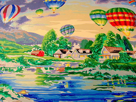 Hot Air Balloons over Country Town by Amy Bradley