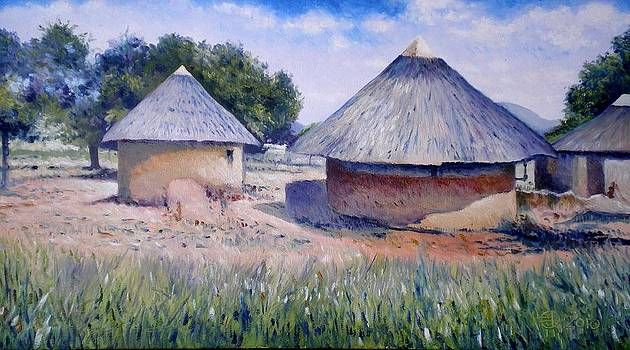 Huts at Pelegano Botswana 2008 by Enver Larney