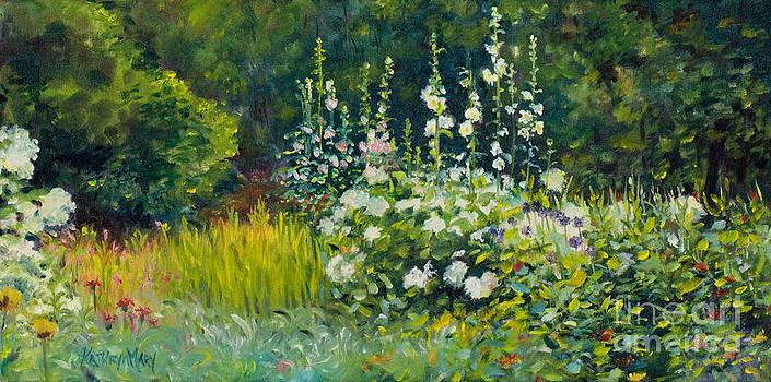 Hydrangeas and Hollyhocks2 by Kathy Harker-Fiander