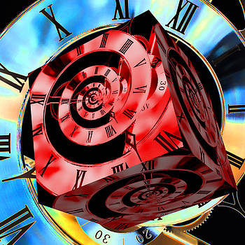 Steve Purnell - Infinity Time Cube Red on Blue