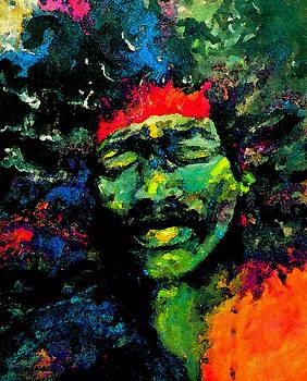 Jimi Hendrix #2 Manipulated Digitally by Teresa Grace Mock