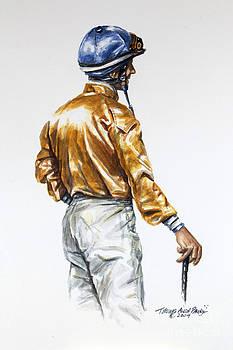 Jockey Gold and Blue Silks by Thomas Allen Pauly
