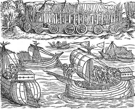 Photo Researchers - Julius Caesar Sailing The Thames 54 Bc