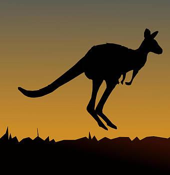 Kangaroo At Sunset by Casino Artist