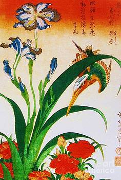 Katsushika Hokusai - Kingfisher with pinks and Irisies