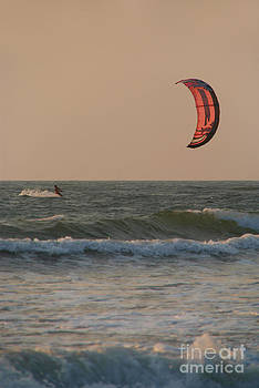 Kitesurfing at Sunset Mandrem by Serena Bowles