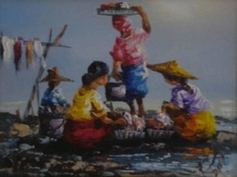 Ladies  Washing Clothes The River by Pretchill Smith