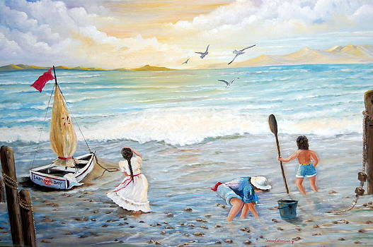 Lady Bay Children on the Beach by Janna Columbus