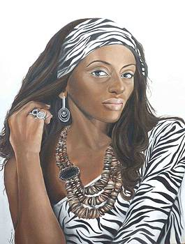Lady in Zebra print by Karen Longden-Sarron