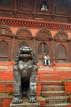 Large Stone Fu in Durbar Square by Serena Bowles