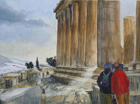 Last Winter Light Acropolis Athens by Jan Lowe
