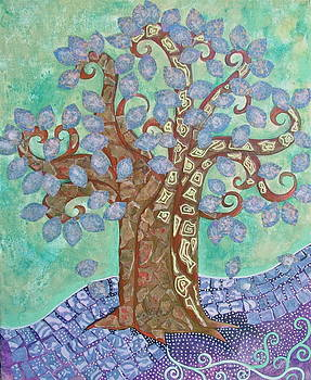 LavendeR LeaF'D TRee on Green SKy by Teresa Grace Mock