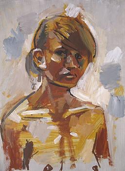 Lena - Quick Acrylic Sketch. 2008 by Yuri Yudaev