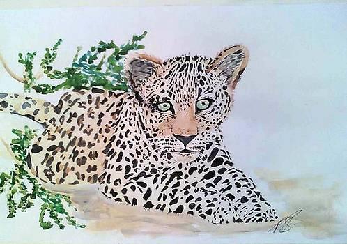 Leopard cub I. by Paula Steffensen
