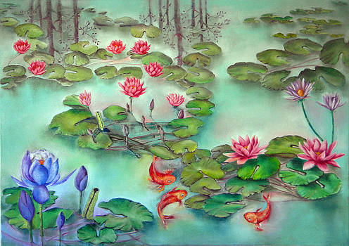 Lily Pond with goldfish by Miriam Besa