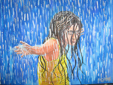 Little girl in the rain by Mocanu Marius