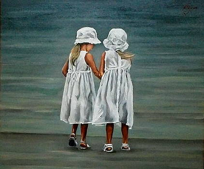 Little Sisters By The Shore by Natalia Tejera