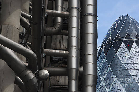 Lloyds of London and the Gherkin buildings by Andrew  Michael