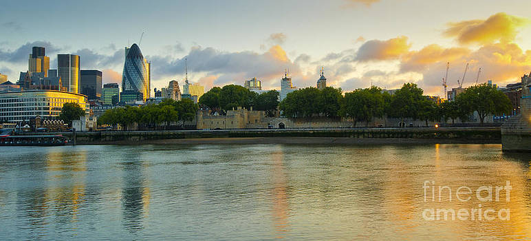 London Cityscape Sunrise by Donald Davis