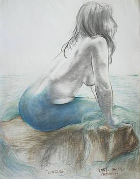 Longing - Mermaid Tryptic 1 by Jennifer Christenson