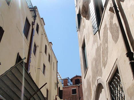 Looking up from a gondola Venice Italy by Gina Clayton-Tarvin