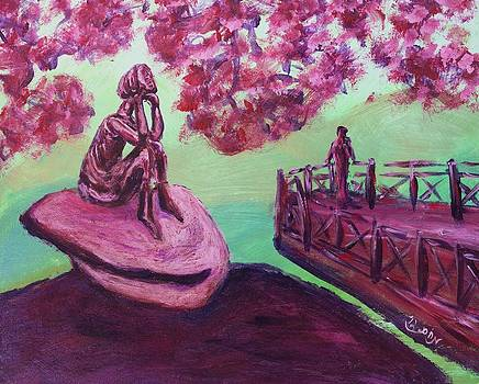 Lost in Thought Green Pink Magenta Purple with cherry blossom tree bridge Mountain Rock after Hiking by MendyZ M Zimmerman