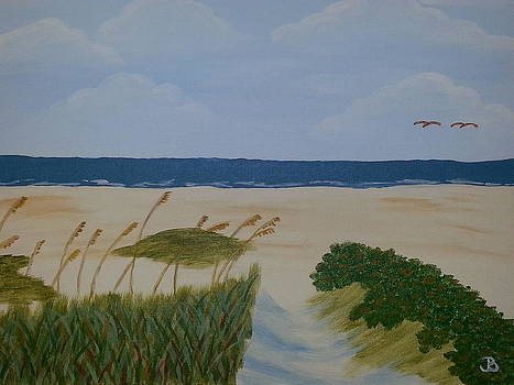 Lovebirds at the Beach by Jeannette Brown