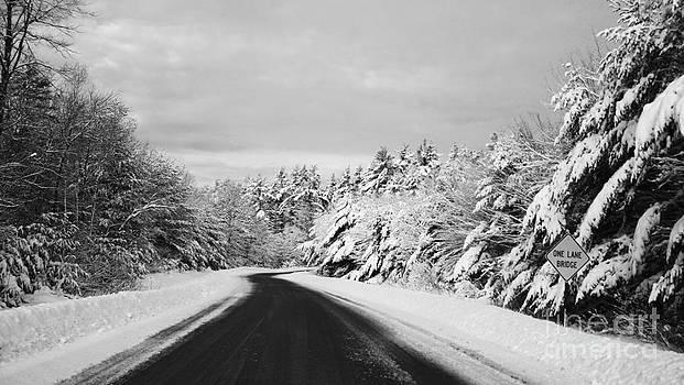Maine Winter Backroad - One Lane Bridge by Christy Bruna