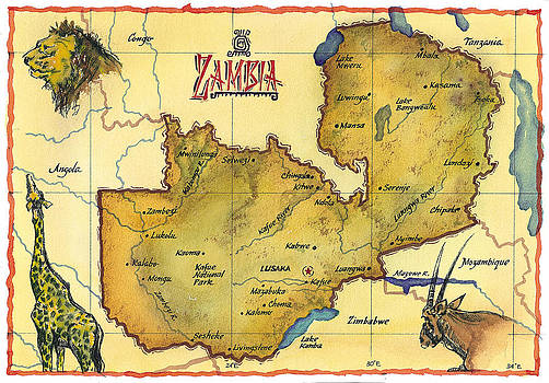 Map Of Zambia by Chuck Creasy
