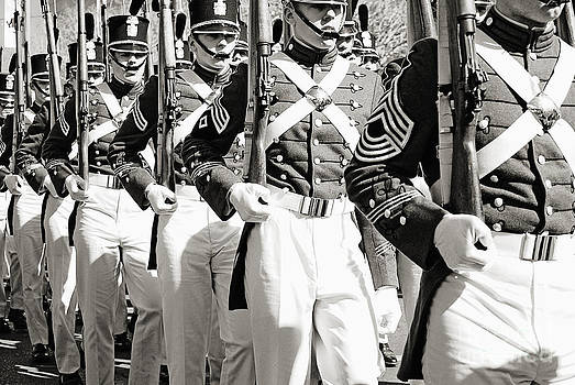 Kathleen K Parker - Marching Mardi Gras Soldiers in black and white