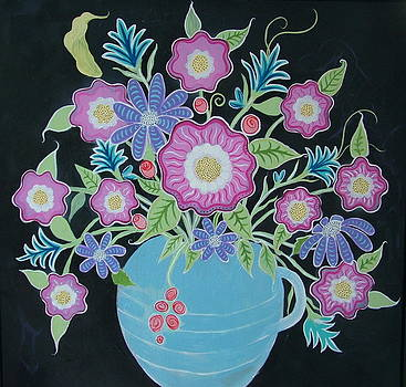 MeXi FloWers in BlacK and BLue by Teresa Grace Mock