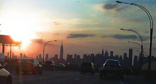 Midtown Manhattan Sunset from the LIE by Marybeth Friel-Patton