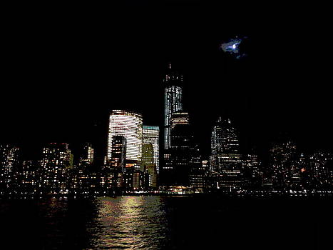 Moonrise Over Freedom Tower by Lewis Mengersen
