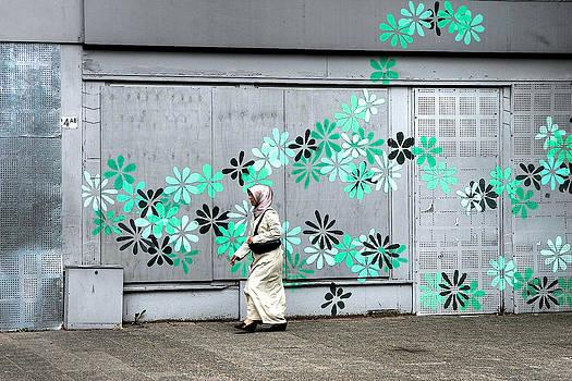 Moslim Girl in Green Flowers by Ferry Ten Brink