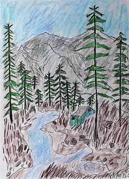 Mountain Cabin Near A Stream by Swabby Soileau