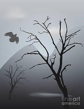 David Gordon - Mountain Landscape With Bird