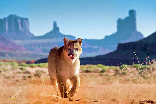 Mountain Lion in Monument Valley by Dennis Fast