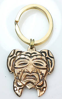 Native American Turtle Mask Key Ring for Men by Virginia Vivier
