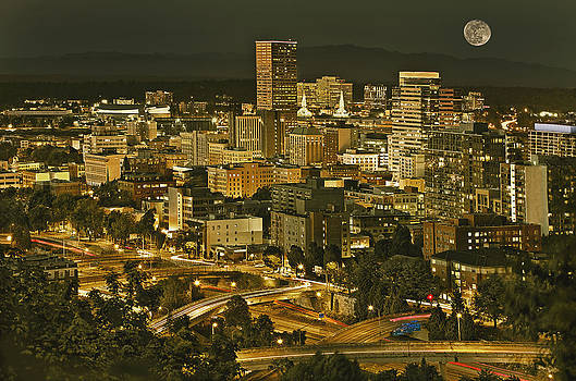 Night View Of Portland City Downtown by Tatiana Boyle