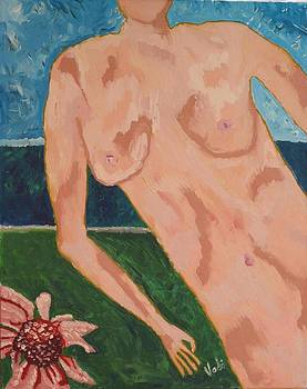 Nude in garden by Voda Tenerife
