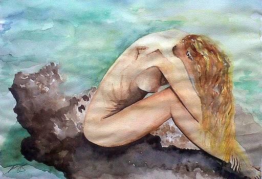 Nude on a Rock II. by Paula Steffensen